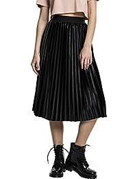 Urban Classics Damen Samt Rock Ladies Velvet Plisse Skirt