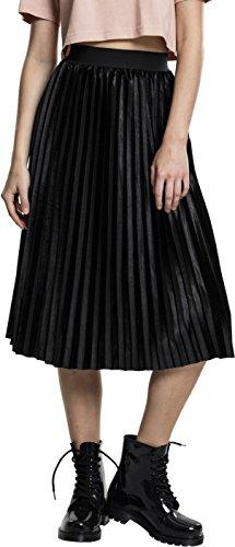 Urban Classics TB1733 Damen Rock Ladies Velvet Plisse Skirt, Schwarz (Black 7), 42 (Herstellergröße: L)