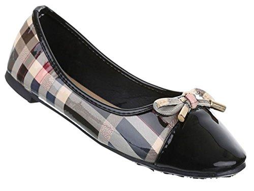 Damen Ballerinas Schuhe Loafers Slipper Slip-on Flats Pumps Schwarz Multi Rot Weiß 36 37 38 39 40 41 Schwarz