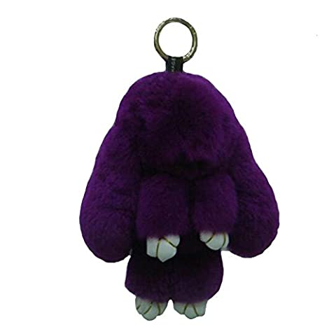 80Store Newest Christmas Gift Faux Fur Cute Mini Rabbit Doll Keychain Car Key Ring Women's Bag Charm Handbag Pendant 13CM (Dark