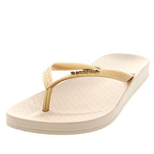 Damen Ipanema Tropical Sommer Strand Urlaub Zehensteg Sandale Flip Flop Schwarz