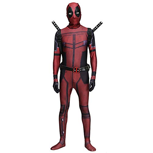 QQWE Marvel Deadpool Cosplay Kostüm Bodysuit Halloween Erwachsenes Kind Kostüm Kostüm Spandex Overalls Maskerade Cosplay Voller Satz Kleidung,B-Adult-L (Vollen Kostüm Bodysuit)