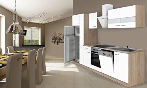 respekta Einbau Küche Küchenzeile 310 cm Eiche Sonoma Sägerau Weiss inkl. Kühl- Gefrierkombi Ceran & Geschirrspüler