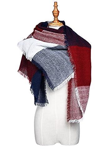G-beanbang Women's Winter Plaid Scarf Warm Scarf Soft Tassel Scarf Autumn Shawl Wrap Tartan Scarf