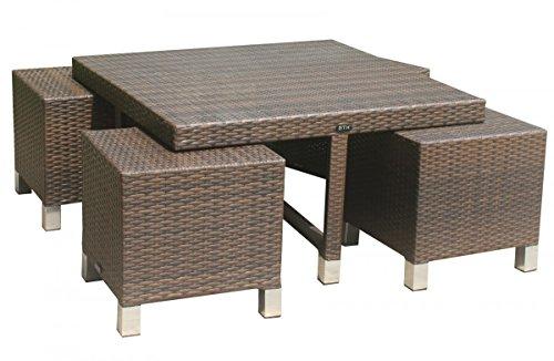 Dreams4Home Tisch Set 'Hanka' - Gartentisch Set, Set mit Hockern, Gartenmöbel, Tisch + Stühle, Rattanmöbel, Garten, Sofa, B/H/T: 100 x 57 x 100 cm, 4 x unterschiebbare Hocker, Aluminium Unterbau , Rattan Geflecht - in mokka