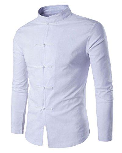 Herren Freizeit Hemd Taste Dekor Slim Fit Langarm Shirts Weiß