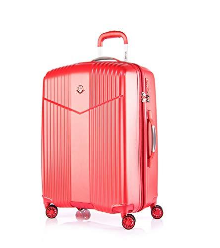 """LEICHTGEWICHT Reisekoffer Hartschale TSA integriert M-24\""""(66L) von Verage V-LITE, 4 Rollen ABS/PC Trolley (Rot) mit Sicherheits-Reißverschluss"""