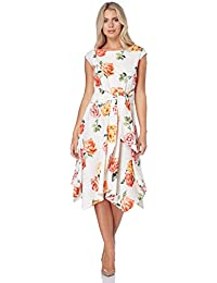4c4b29a06d0d Roman Originals Women Hanky Hem Floral Print Dress - Ladies Skater Tie Knot  Front Midi Cocktail Wedding Guest…