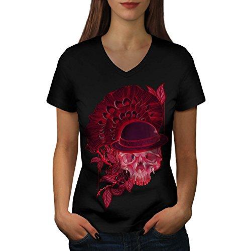 Rot Schädel Blume Natur Women S V-Ausschnitt T-Shirt | Wellcoda (Dunklen Womens T-shirt Teufel)