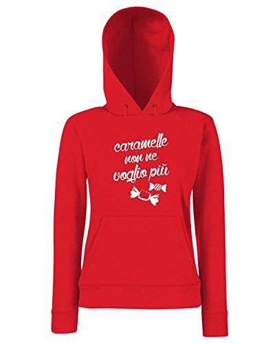 T-Shirtshock - Sweats a capuche Femme T0996 caramelle non ne voglio piu fun cool geek Rouge