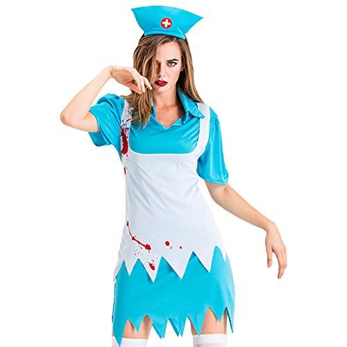 Übergröße Zombie Krankenschwester Kostüm - JXQ-N Damen Krankenschwester Geister Blutiges Halloween Geist Gespenst Horror Kostüm Cosplay Zombie Kostüm Stretch Gezackt Saum Kleid Mit Hut Kopfbedeckung