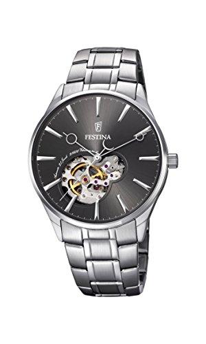 Festina F6847/2 - Reloj de Pulsera para Hombre, Mecanismo automático, Pantalla analógica, con dial Gris y Correa Plateada de Acero Inoxidable