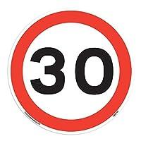 Stickerzilla 30 Mph Speed Signs [10 X Pack - 150mm W x 150mm H White Background ] Ideal For Wheelie Bins