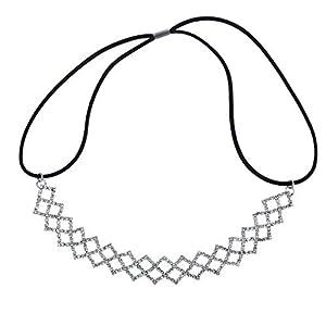 Lux Accessories Stirnband mit Strasssteinen, silberfarben
