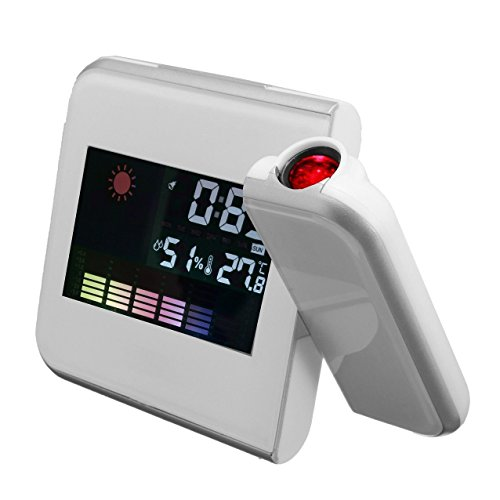 CUHAWUDBA 3.7 ''Digital LCD Proyector de proyeccion de Tiempo LED Despertador Tiempo Temperatura Blanco
