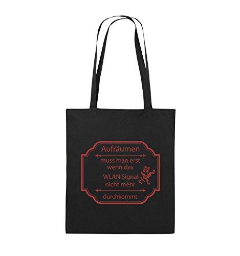 Comedy Bags - Aufräumen muss man erst, wenn - WLAN SIGNAL - Jutebeutel - lange Henkel - 38x42cm - Farbe: Schwarz / Silber Schwarz / Rot