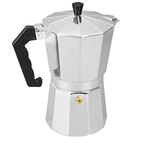 MagiDeal Aluminum 3/6/9/12 Cups Coffee Moka Maker Pot Top Expresso Latte Stove Percolator Silver 41y18QX03bL