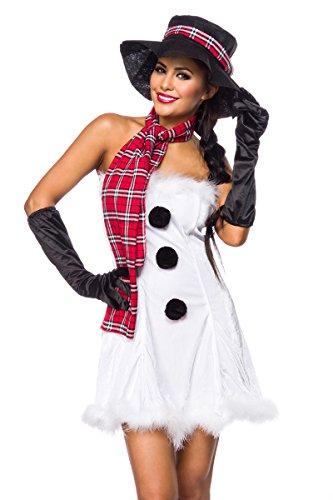 Snowgirl Kostüm - Yourdesignerz Damen sexy weißes Schneefrau-Kostüm mit kurzem Kleid Schal und Hut Handschuhe Roleplay Verkleidung