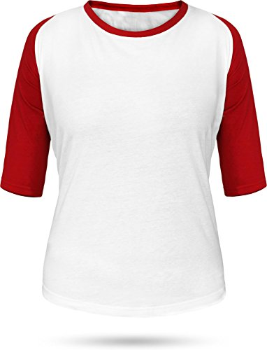 Weiße Baseball-t-shirt (Baseball / Kontrast Shirt | 3/4 Arm für Damen Farbe Weiß/Rot Größe M)