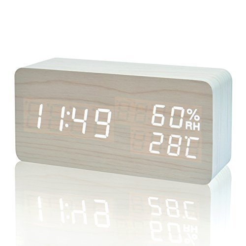 FiBiSonic LED Holz Wecker Modern Tischuhr Klein Standuhr Datum/Temperatur/Feuchtigkeit Anzeige Digital Wecker Weiß
