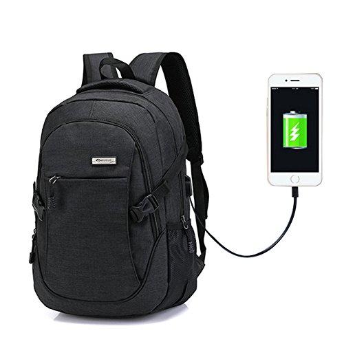 (Ailin Online Laptop Rucksack mit USB Ladeanschluss Mode Casual Reiserucksack Segeltuch Wasserdichte Große Fach Schulrucksack für Schule Reise Arbeit Sport 4 Farben zu Auswahl (Schwarz))