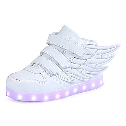 LED Flügel Engel Neon Kinderschuhe Leuchtende Sohle led Sportschuhe Mit 7 Farbe Multicolor Bunt Leuchtschuhe Unisex Jungen Mädchen Weiß