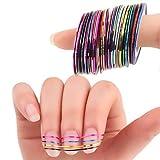 30pcs Bunt gemischt Striping Aufkleber Folien-Spitzen Tape DIY Nail Sticker Dekorationen