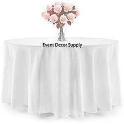 10manteles de mesa redondos, poliéster, sin costuras, 228,6 x 228,6 cm, color blanco, Blanco, 1