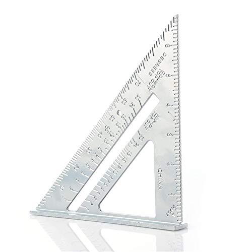 Mjd Winkelmesser Professionelle Winkelmesser 7-Zoll-Aluminiumlegierung Zimmerei Dreieck Lineal metrischen Zoll 90 Grad 45 Grad Platz Winkel Lineal (Color : Silver)