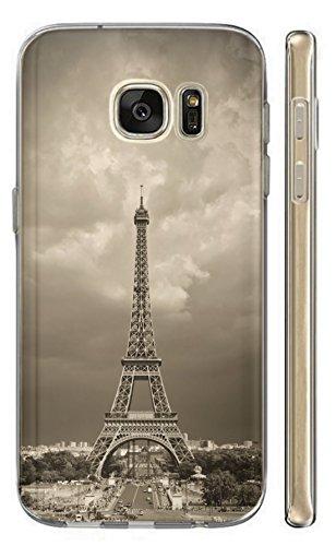 KunaMobile Hülle für Samsung Galaxy S7 TPU Handyhülle Samsung Galaxy S7 Silikon Hülle Softcase Cover Schutzhülle Motiv (391 Eifelturm Paris Frankreich Schwarz Weiß)