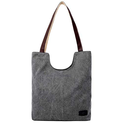 Canvas Tasche Damen, Veloce Handtasche Shopper Tasche Strandtasche Reisetasche Solide Stilvoll Und Elegant für Einkaufen, Schule, Reisen, Party(Grau)