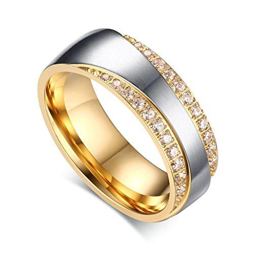 Gnzoe Herren Ringe Verlobungsringe Edelstahl Herrenringe Für Paare Gold Ringe mit Zirkonia 65 (20.7) - 3