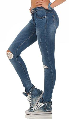 Fashion4Young - Jeans - Femme bleu noir 36 Bleu