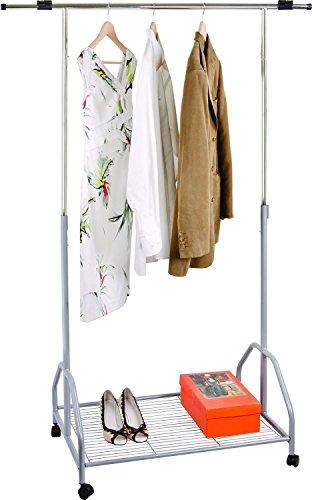 Oramics ausziehbarer Kleiderständer Teleskopgarderobe Garderobenständer mit Rollen (87-150cm, Schuhablage)