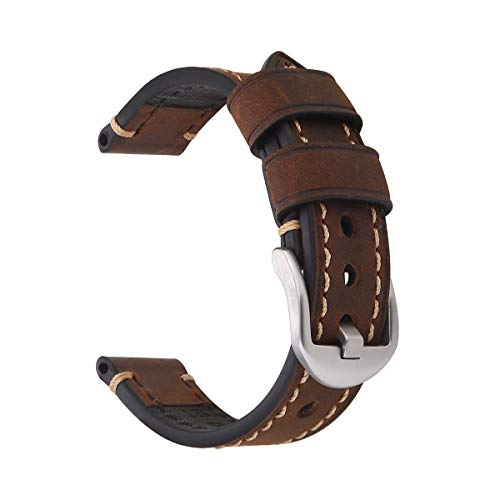 18mm Watch Strap,EACHE Crazy Horse Leather Reoro Watch Replacement Band,Dark Brown Silver Small Buckle