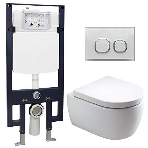 Bernstein Glas-modell (WC-Komplettpaket 22: WC NT2039 und Soft-Close Sitz mit Vorwandelement G3008 und Betätigungsplatte vorne, Betätigungsplatte:Modell weiß Glas)