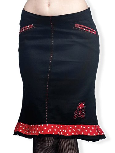 Queen of Darkness, Knielanger Rock mit Polka Dots Schwarz