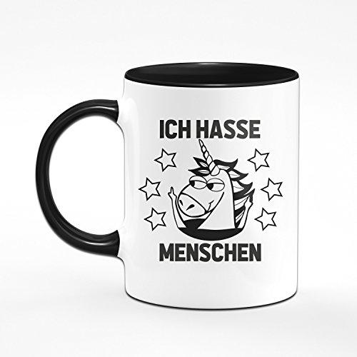 Einhorn Tasse Ich Hasse Menschen - Kaffeetasse in Schwarz - Coole Tassen mit Sprüchen für Das Büro Oder Zuhause - 2