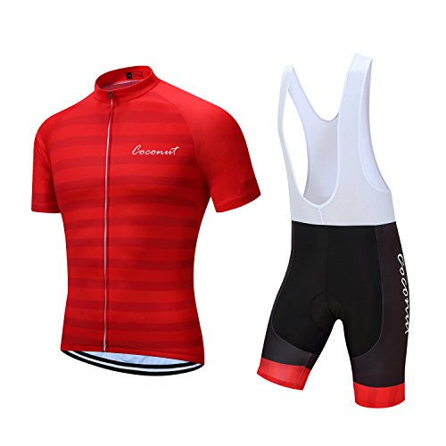 Coconut Ropamo Pro Team Men s Cycling Jersey Bike Bib Shorts With 3D Gel  Padded (Red 5190d9cdd