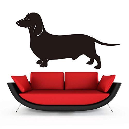 caowenhao Dackel Hund Wandaufkleber Wohnzimmer Vinyl abnehmbare Tier Kunst Wandhauptdekoration schwarz 58cm x 31cm -