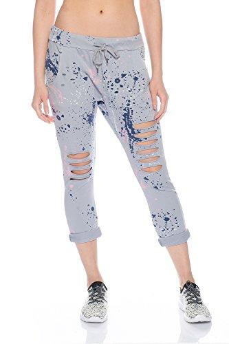 Fashionflash Damen knöchellange Hose zerissen (one Size, grau)