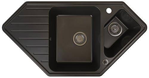 Primagran Spülbecken aus Granit Monaco 1,5-Becken Einbau-Eckspüle mit Kleiner Abtropffläche mit Siphon und Ablaufgarnitur Schwarz