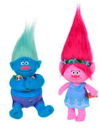 Trolls - Pack 2 plüsch Princess Poppy 37cm (rosa) und Biggie 23cm (hellblau) - Qualität super soft - rosa+azulclaro