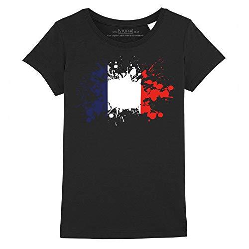 Stuff4® Mädchen/Alter 12-14 (152-164cm)/Schwarz/Rundhals T-Shirt/Frankreich/Französiche Flagge -