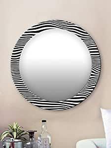 999Store Printed Black and White Strips Pattern Round Mirror (MDF_17X17 Inch_Multi)