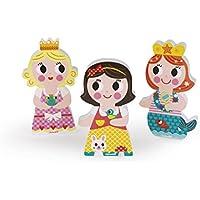 Janod Funny Magnets 3 Personajes magnéticos de Madera, Princesas (J08032)