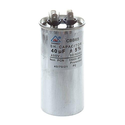 WOVELOT R CBB61 SH 6uF 450VAC Moteur Course Ventilateur condensateur Noir avec 2 Fils de Connexion