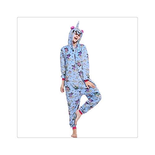 Girls Unicorn Pegasus Pajamas Sets Flannel Animal Cartoon Sleepwear Stitch Pyjamas for Women Adult Halloween Hooded Pajamas Blue Pegasus XL (Secret-models Victoria Halloween S)