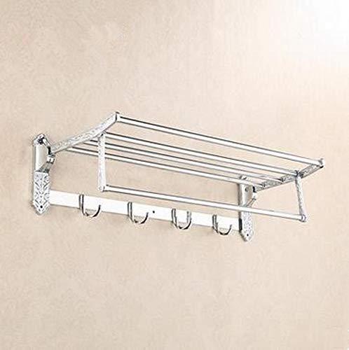 Yunfeng Handtuchhalter, Silber aus rostfreiem Stahl Falt Geschnitzte Wand-Bad Einhebel-Handtuch Rack verdickte Basis Regal stor Alter Schiene Rack - Stahl-falt-regal