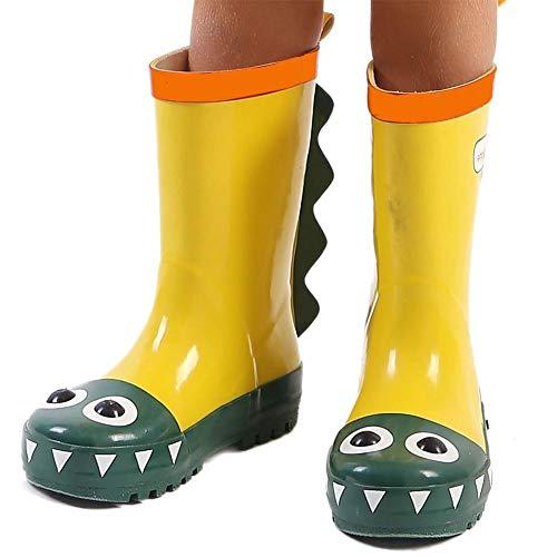 DRAULIC Regen Stiefel Dinosaurier Muster Kinder Regen Stiefel Cartoon wasserdichte Schuhe Kinder Regen Rohr 3D Stereo-Stil -